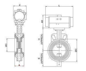 Pneumatic Butterfly Valve Lined with FEP